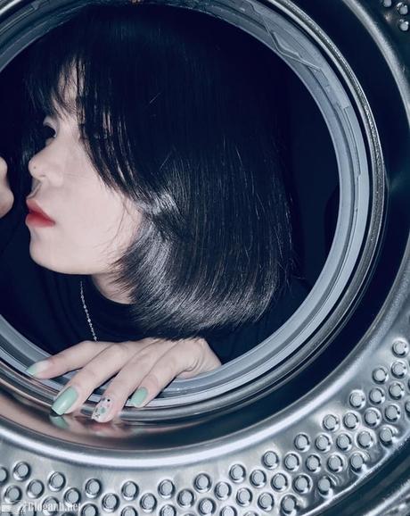 cô gái, tự sướng, máy giặt