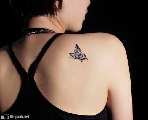 hình xăm bướm đẹp, hình xăm đẹp cho nữ, hình xăm vai