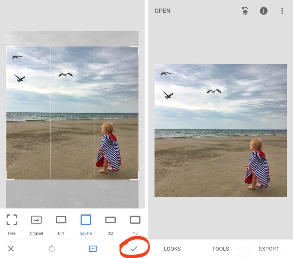 điều chỉnh công cụ, điều chỉnh kích thước khung ảnh trên snapseed, em bé, bầu trời