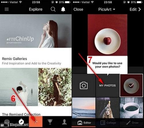 hình ảnh bộ sưu tập, ứng dụng PicsArt