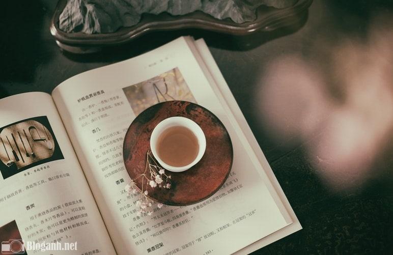cafe nâu, sách, hoa khô